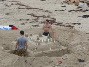 Sand Chateau on the beach at St Martin de Bréhal